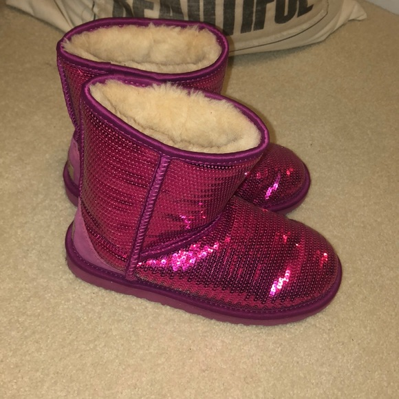 Kids Used Pink Sequin Uggs